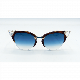 Fendi Cat Eye Sun Glasses Two Tone Brown Frame Two Tone Blue Lens - FF 0041/S VIOG5